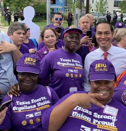 Presidential Candidate Julian Castro joins union for immigrant rights rally in Houston